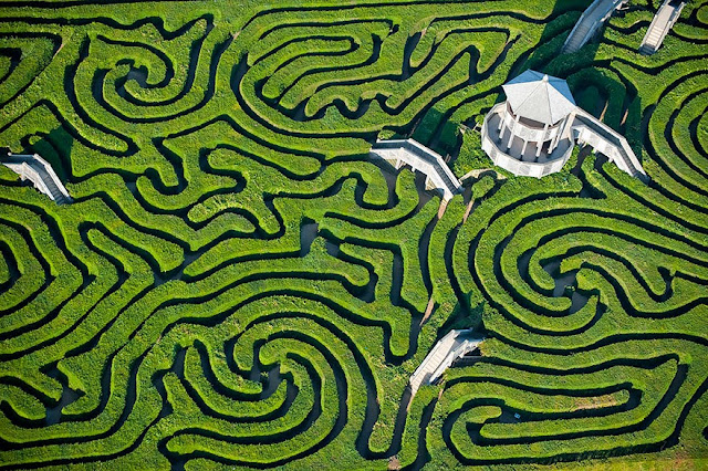 Причудливые дорожки лабиринта Longleat Hedge Maze в Англии