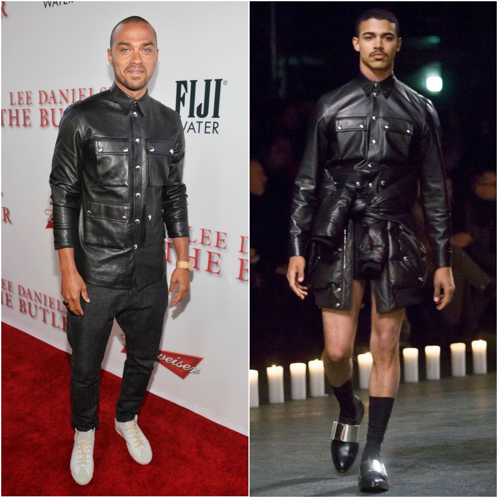 00O00 Menswear Blog http://00O00.blogspot.com Jesse Williams in Givenchy Fall Winter 2013 Menswear Shirt/Jacket- 'The Butler' Los Angeles Premiere