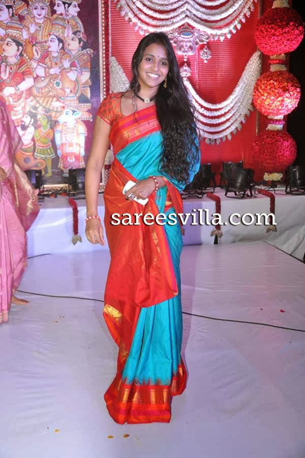 Singer Smitha In Pochampally Saree