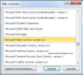 VBA: El control Slider o Deslizador - Microsoft Slider control, version 6.0