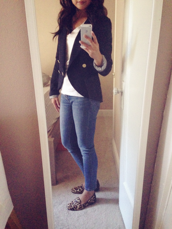 navy blazer and leopard loafers