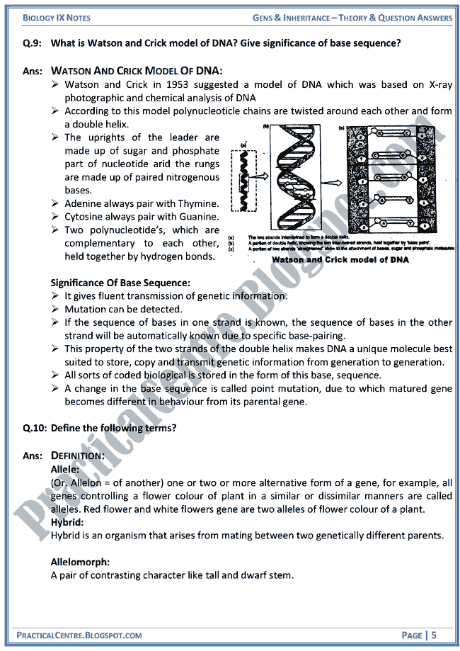 genes-and-inheritance-theory-and-question-answers-biology-ix