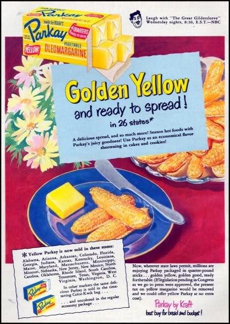 Polêmica na venda de margarina e manteiga nos Estados Unidos, nos anos 60.