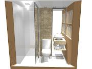 . lavabo e a parte do box coloquei porta de correr espelhada , na bancada .