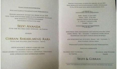 Ini Isi Surat Undangan Pernikahan Putra Presiden Jokowi