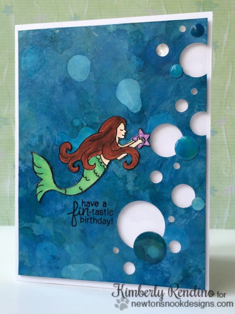 Mermaid Crossing card by Kimberly Rendino for Newton's Nook Designs | alcohol ink | mermaid | kimpletekreativity.blogspot.com