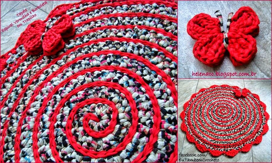 Alfombra de trapillo o totora con dise o en espiral y - Como hacer alfombras con trapillo ...