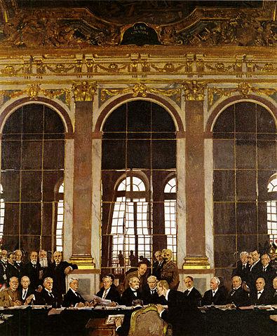 Ilustracción en la que se observa la firma del tratado de Versalles por los Alemanes en 1919