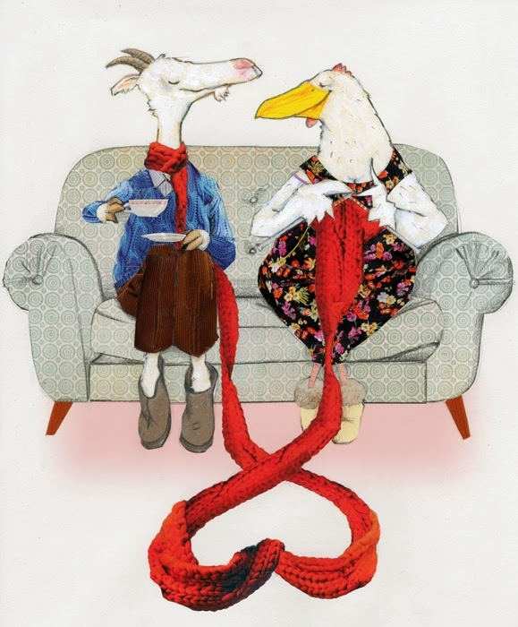 valentines couple goat and chicken on a sofa illustration by Robert Wagt