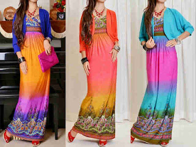 Maxi Dress Korea + Cardi Kode M-3151