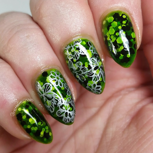 Green jelly sandwich lynbdesigns Stage Kitten and silver flowers nail art