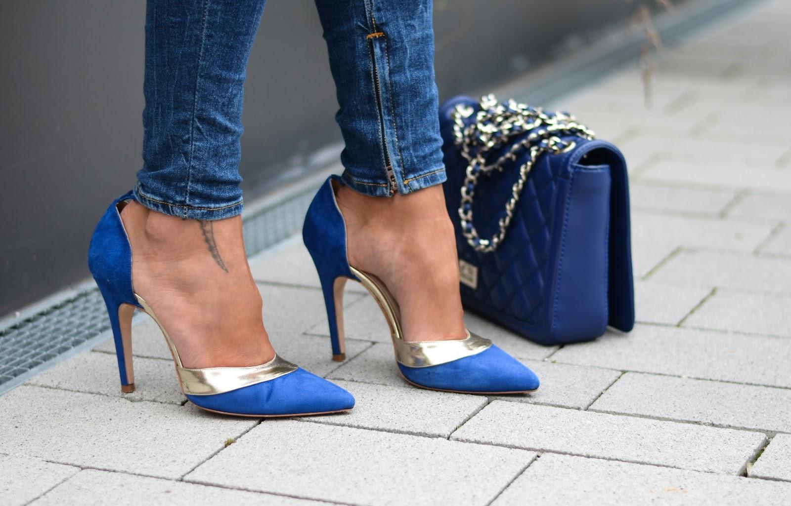 kristjaana mere georg j love blue suede stilettos moschino blue quilted bag