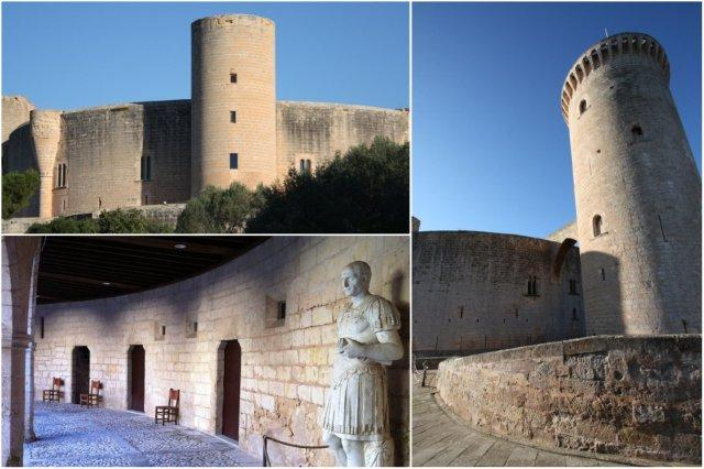 Exterior Castillo de Bellver en Palma de Mallorca – Patio, escultura bajo los arcos – La Torre Major o del homenaje