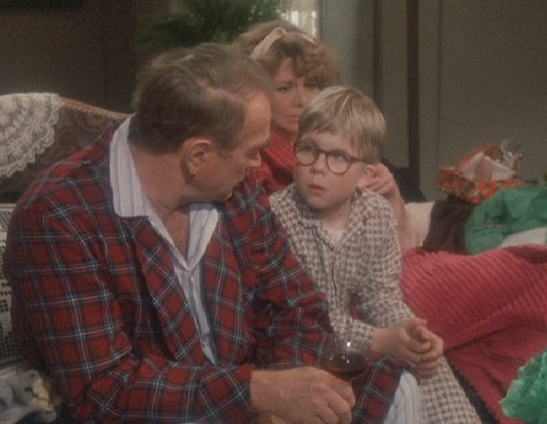 Ralphie and the old man in A Christmas Story 1983 movieloversreviews.blogspot.com