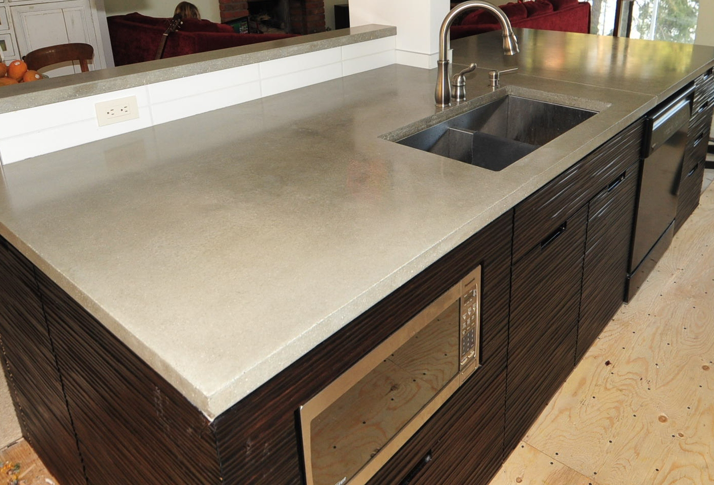 Here is our standard grey concrete countertops in a modern kitchen we ...