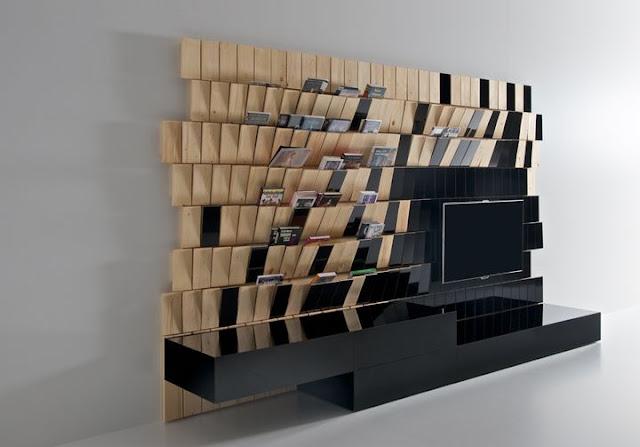 dentro de la coleccin woodoo del estudio hemos encontrado este original mueble de televisin que combina tableros lacados en blanco y