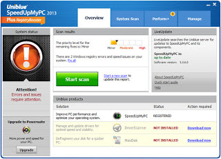 Screenshot Software Uniblue SpeedUpMy PC 2013