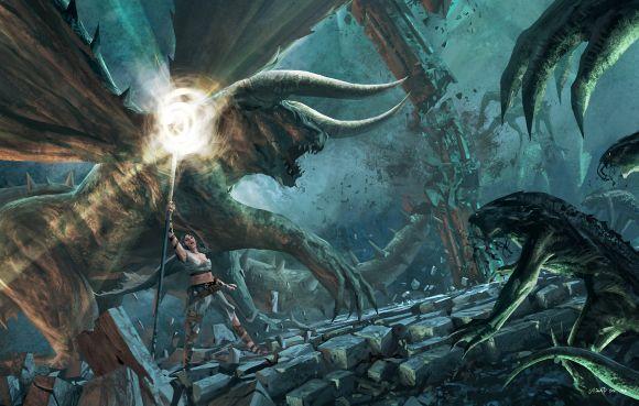 Anthony Wolff waart pinturas ilustrações digitais fantasia ficção Batalha de demônios