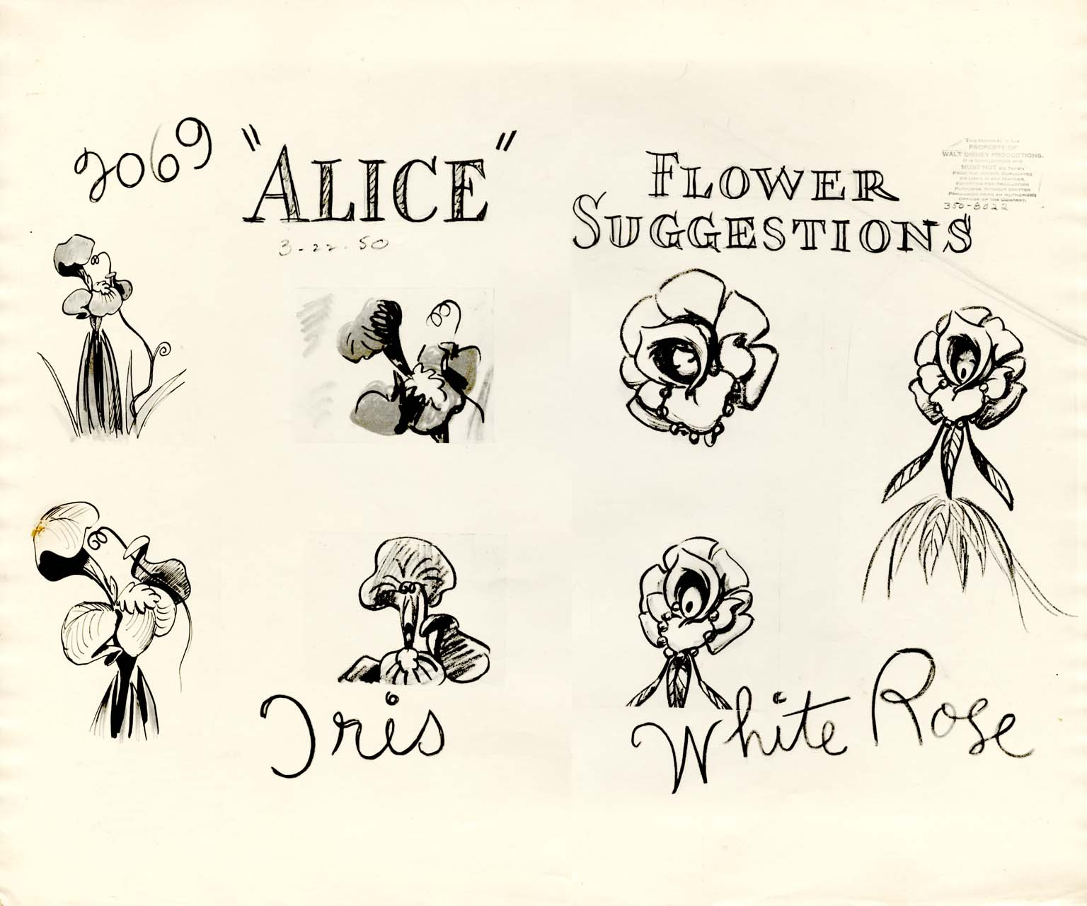 Character Design Tips Tattoo : Vintage disney alice in wonderland animation model sheet
