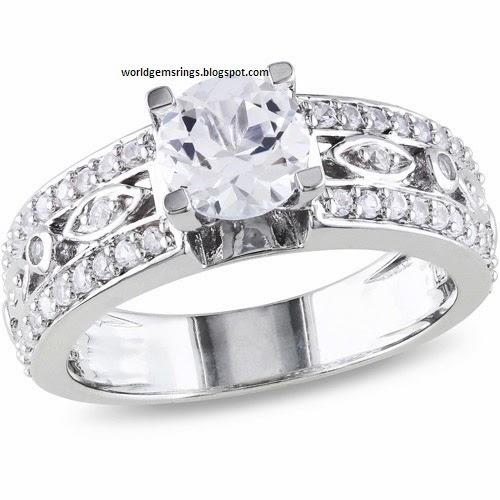 Engagement Ring White Sapphire Diamond Engagement Wedding Ring 52