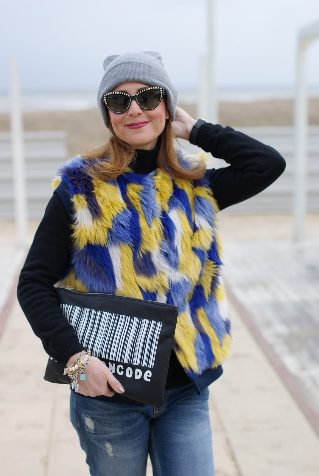 Moschino sunglasses, faux fur vest and cat ear beanie on Fashion and Cookies fashion blog, fashion blogger style