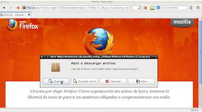 Descargando Firefox desde Midori (Linux)