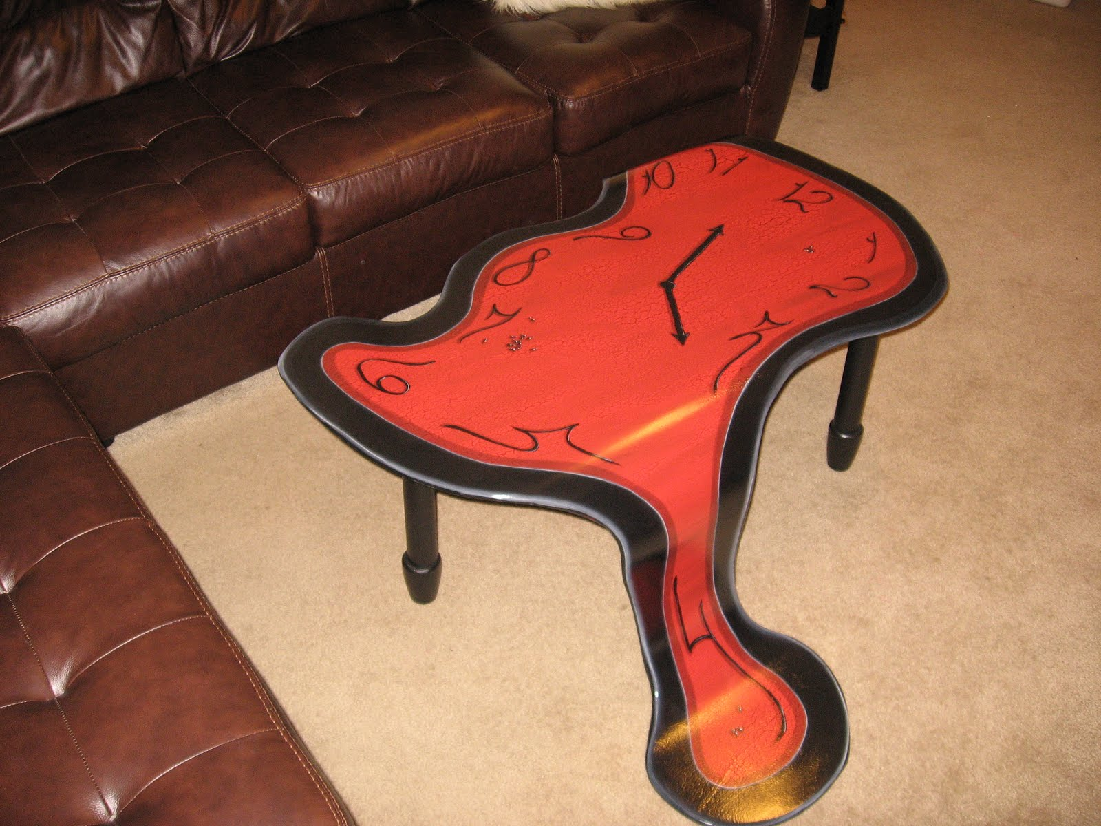 Finally, Pictures Of Completed Melting Clock Coffee Table