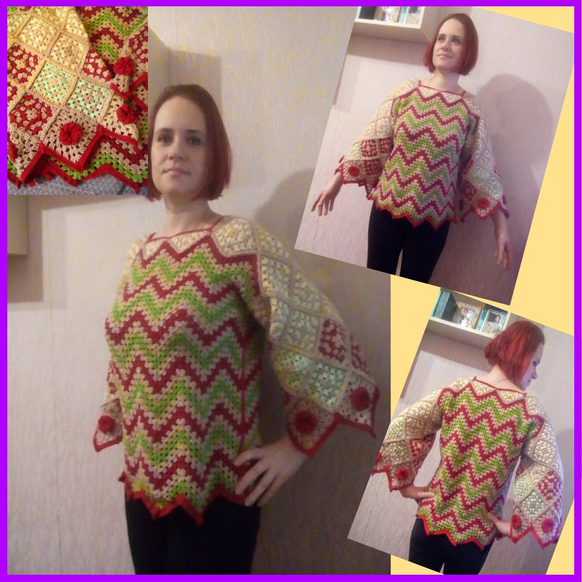 Вязание кофты бабушкиным квадратом 94