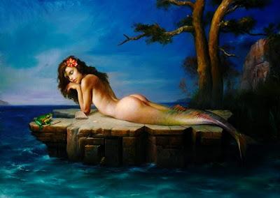 Sirena Pensativa Cuadro Arte Oleo