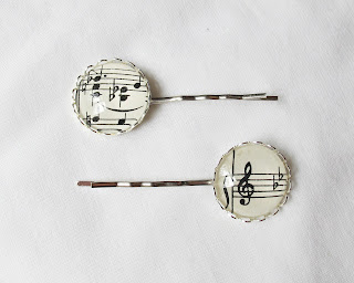 image music-themed accessories hair bobby pins clips treble clef music notes sheet music two cheeky monkeys