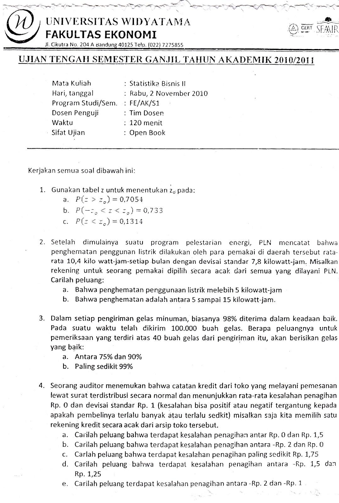 Uts Statistika Bisnis 2 Tahun 2010 2011 Kumpulan Soal Ujian