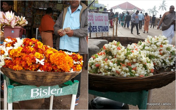 flower offerings at Chamundi temple