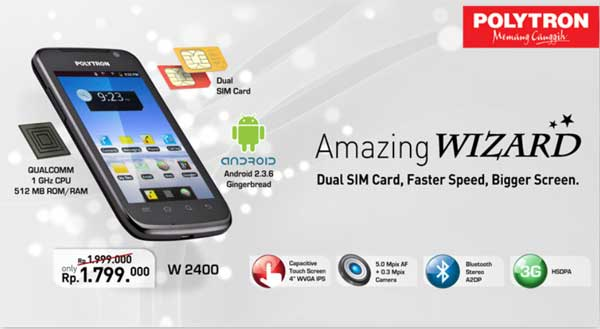 Smartphone Polytron Wizard W2400 Android