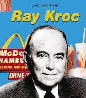 Vintage Photo montage of Ray Kroc with the McDonald's sign and McDonald's food behind
