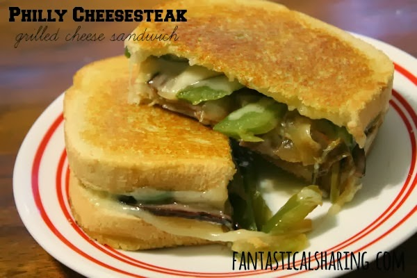 Philly Cheesesteak Grilled Cheese Sandwich | The best kind of grilled cheese sandwich there is!