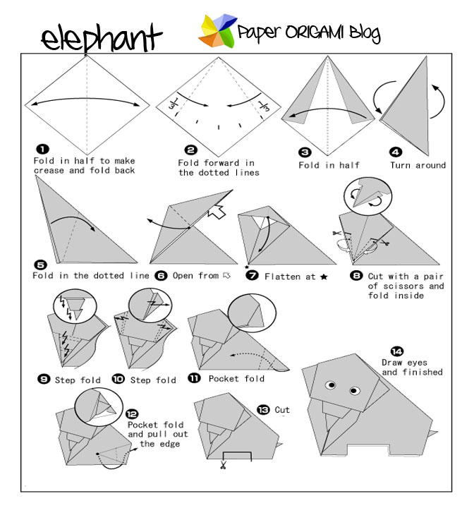 Download Photos HERE Elephant Origami