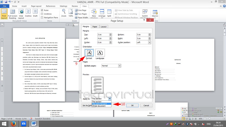 Cara Membuat Salah Satau Halaman atau Lebih Menjadi Landscape Pada Microsoft Office Word 4