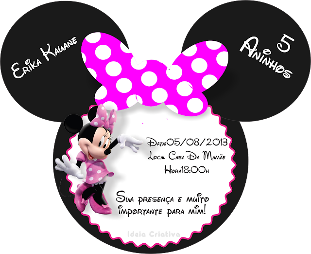 Convite de Aniversário Minie disney