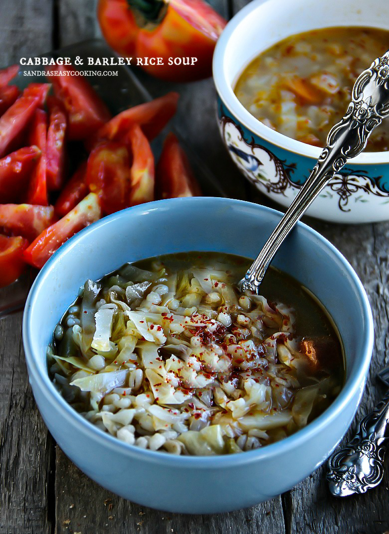 Cabbage & Barley Rice Soup #soup #homemade #recipe #healthy