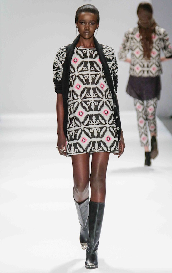 Mara Hoffman Fall 2013 Runway Geometric Mini Dress Black Pink