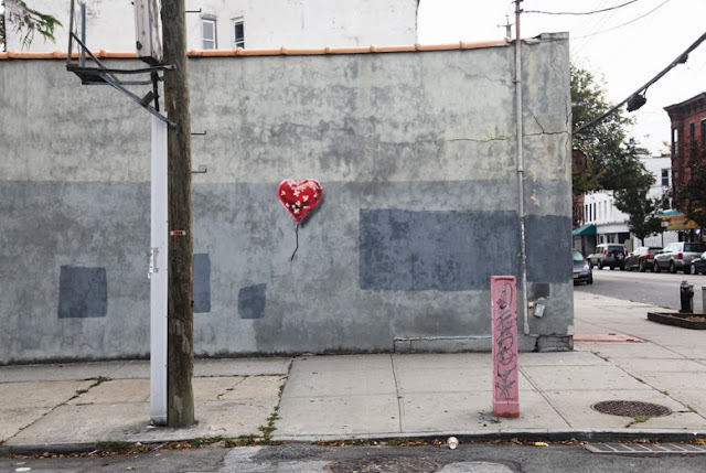 """Heart Balloon"" New Street Art By Banksy In Brooklyn, USA For Better Out Than In.  2"