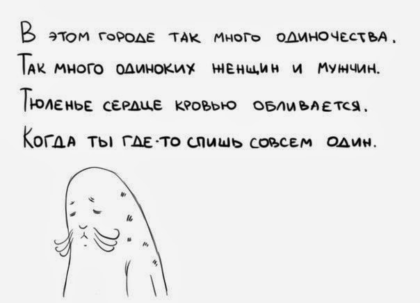 в этом городе так много одиночества так много одиноких женщин и мужчин тюленье сердце кровью обливается когда ты где то спишь совсем один