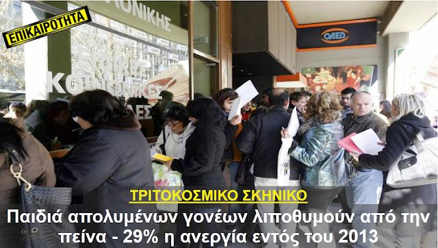 ΤΡΙΤΟΚΟΣΜΙΚΟ ΣΚΗΝΙΚΟ!! Παιδιά απολυμένων γονέων λιποθυμούν από την πείνα - 29% η ανεργία εντός του 2013!!