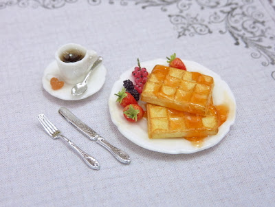 Waffle breakfast plate shown with miniature cup of coffee and cutlery. Handmade by Paris Miniatures - Emmaflam and Miniman
