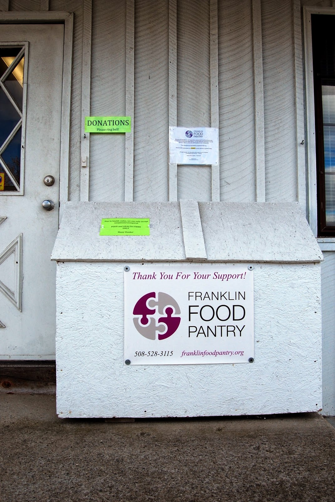 Franklin Food Pantry - donation drop off box (weather permitting)