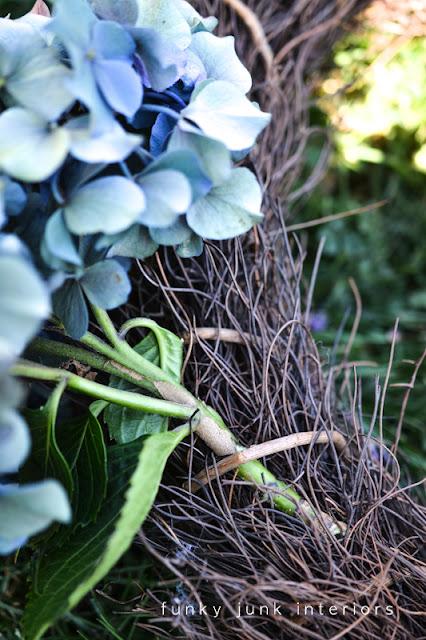 creating a hydrangea wreath