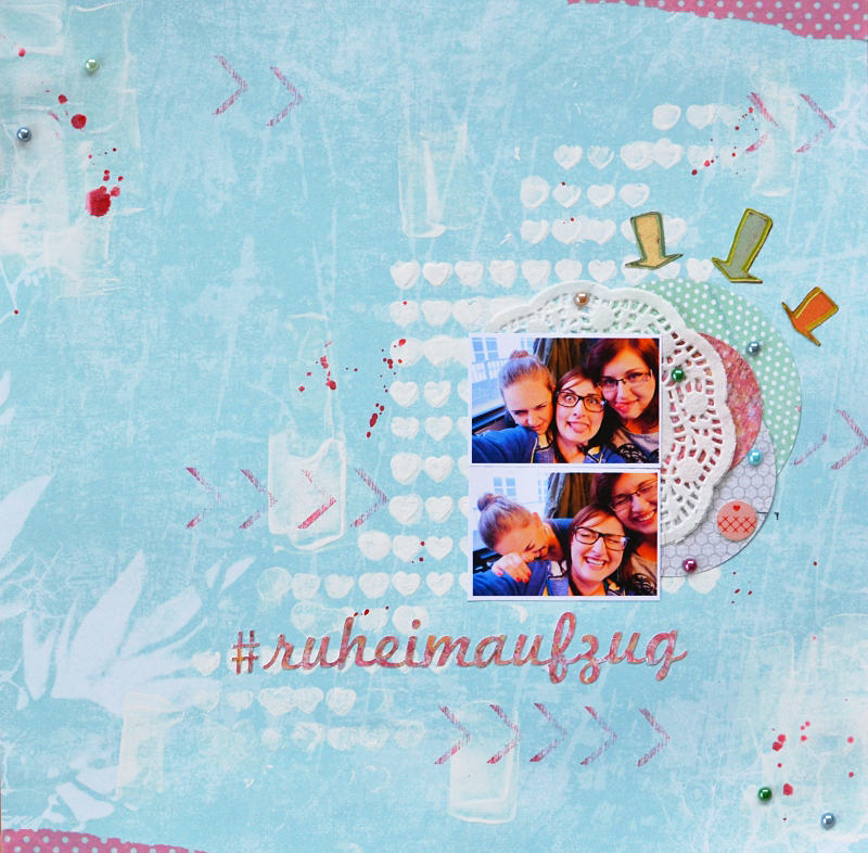 layout scrapbooking blue pink