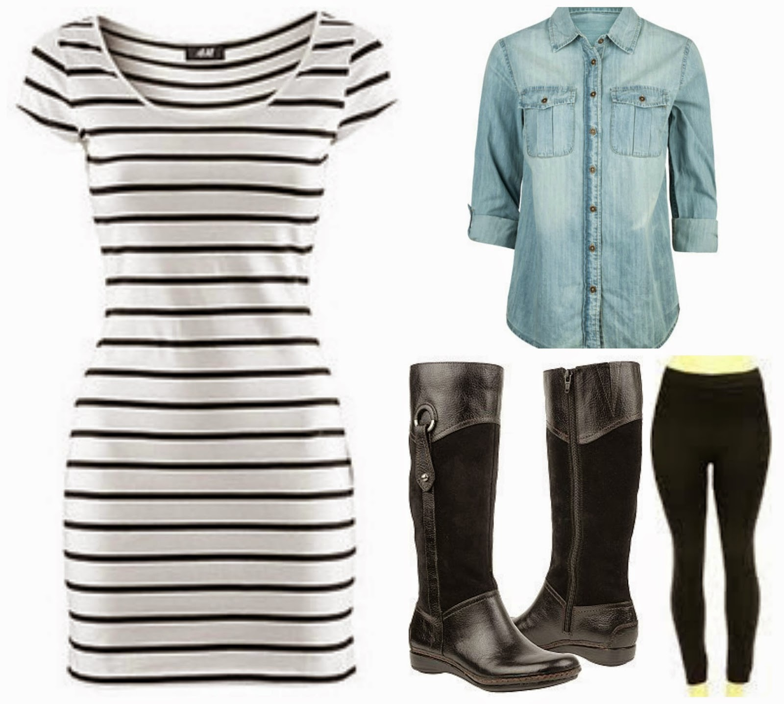 striped dress leggings boots, chambray