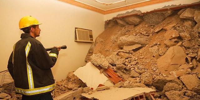 انهيار جزء من جبل على مبنى في مكة المكرمة