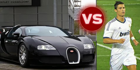 cristiano ronaldo vs bugatti in sprint race automotive. Black Bedroom Furniture Sets. Home Design Ideas